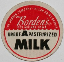 Vintage milk bottle cap BORDENS Pasteurized Hi-Lan Dairy Branch Des Moin... - $9.99