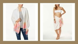 COLLECTION XIIX Swimsuit Cover Up Beach Blanket Oversized Wrap, Peach St... - $17.82