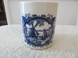 Vintage Windmill Sailing Ship Dark Blue White Made in England Delft Tumbler - $8.75