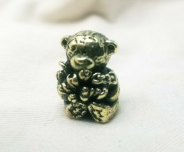 Antique Brass Bear With Flowers Handmade Collectible Figurine  Home Deco... - $9.50