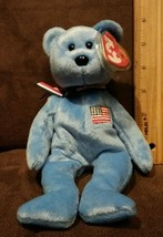 TY AMERICA (BLUE) the BEAR BEANIE BABY - MINT with two tush tags(reg # 2... - $6.99