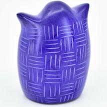 Vaneal Group Hand Carved Kisii Soapstone Blue Owl Figurine Handmade Kenya image 3