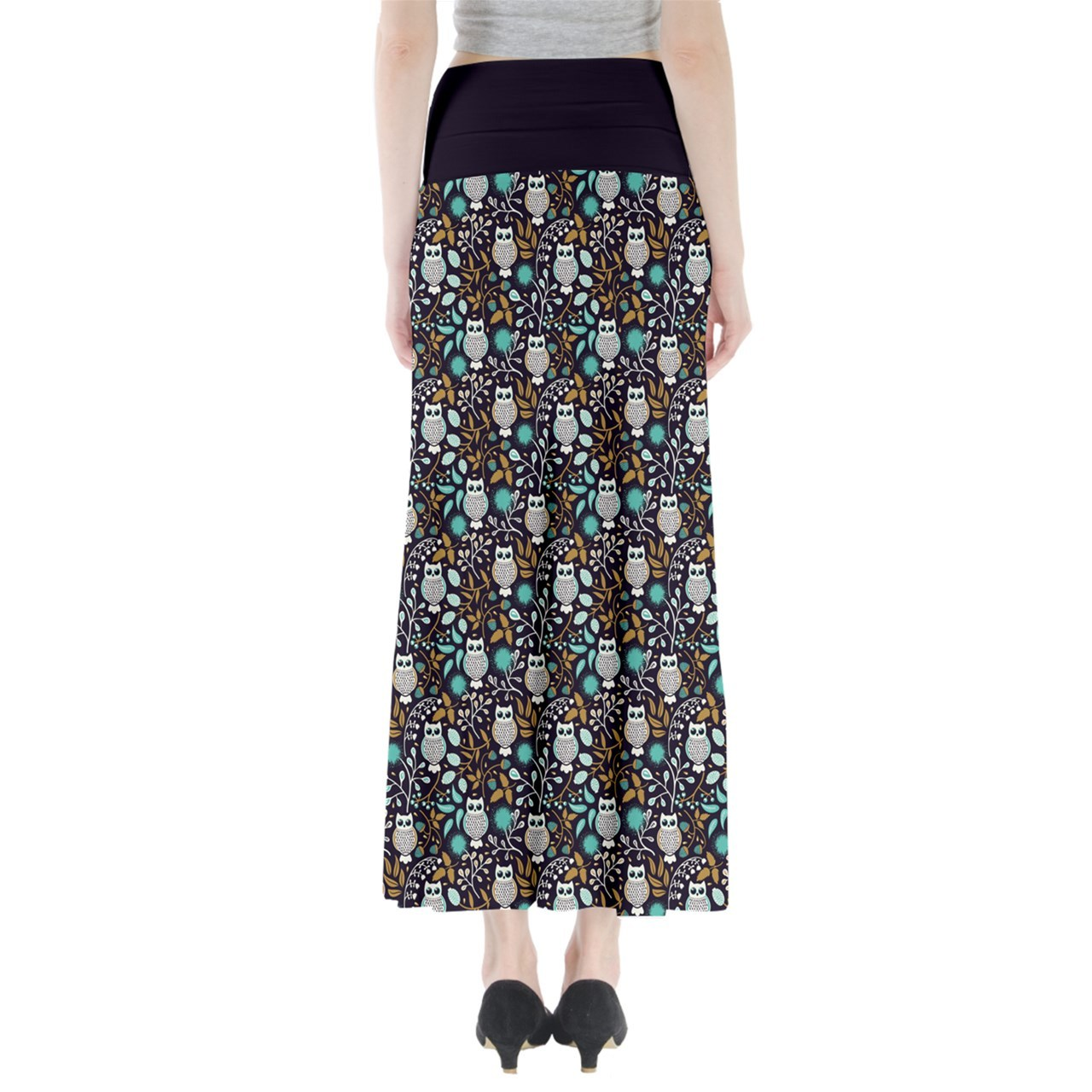 Women's Owl Bird Printed Summer Casual Stretchy Fit Long Maxi Skirt Size XS-3XL
