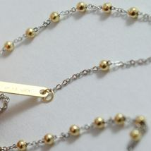18K YELLOW WHITE GOLD MINI ROSARY NECKLACE MIRACULOUS MARY MEDAL JESUS CROSS image 5