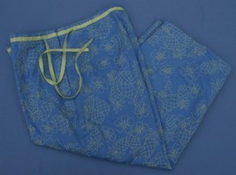 Talbots Petites Stretch 8 P Capri Pants Blue w/ Pineapples Cropped Side Zip - $23.22