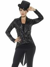 Smiffys Paillette Frack Jacke Schwarz Kabarett Halloween Kostüm-zubehör ... - $36.89