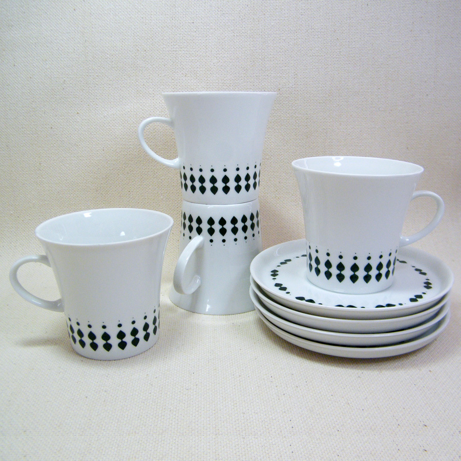 Melitta LANZETTE Dark Green Set 4 Cups & Saucers ONLY Mid-Century Germany - $46.00