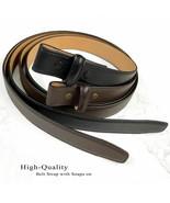 "Belt Strap For Pressure Buckle ""No Holes"" Genuine Leather Belt fits 1"" Wide - $16.95"