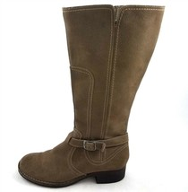 Clarks Brown Suede Leather Knee High Boots Full Zipper Round Toe Womens ... - $34.49