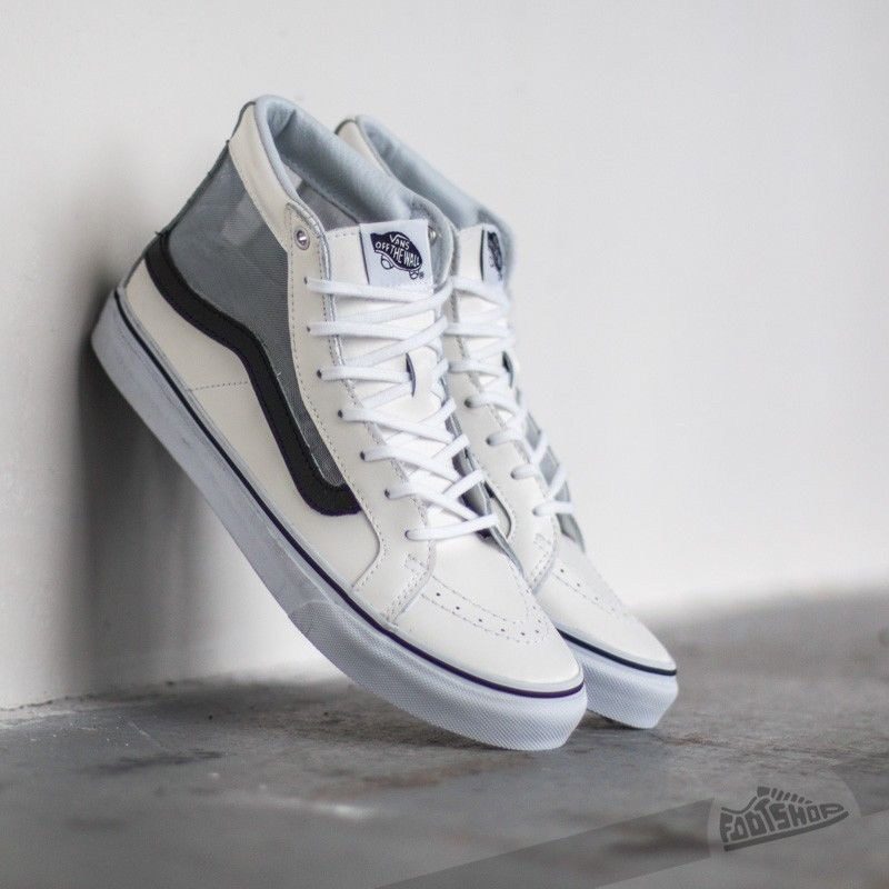 VANS Sk8 Hi Slim Cutout (Mesh) White/Black Leather Skate Shoes WOMEN'S 9
