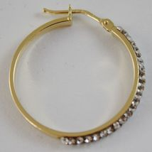 SOLID 18K YELLOW GOLD CIRCLE HOOP EARRINGS WITH ZIRCONIA LUMINOUS MADE IN ITALY image 4