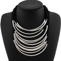 Statement Choker Necklace Multilayer Rubber Metal Pipe Collar Necklace F... - $13.62