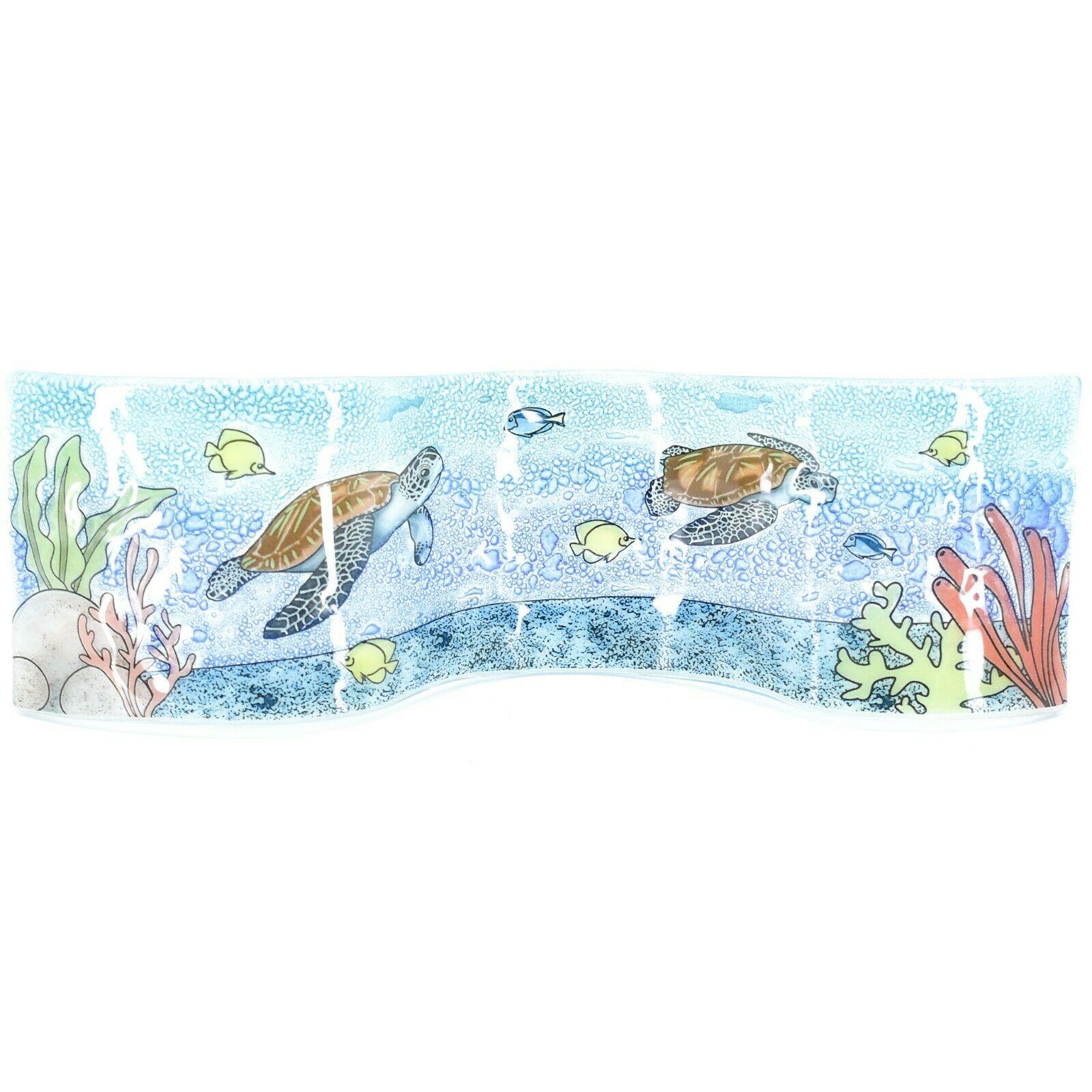 Fused Art Glass Sea Turtles & Fish Underwater Wavy Sun Catcher Handmade Ecuador
