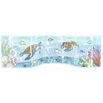 Fused Art Glass Sea Turtles & Fish Underwater Wavy Sun Catcher Handmade Ecuador image 1