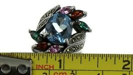 Vintage Ladies Size 6.5 Sterling Silver Multi Stone Fashion Ring No. 2145 image 7