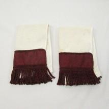 Croscill Sparkle Damask Burgundy/Wine Red Fringed 2-PC Fingertip Towels - $22.00