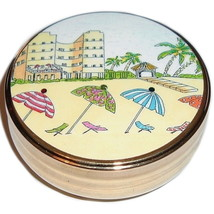 VACATION Scene Trinket Box Goldtone Collectible - $9.99