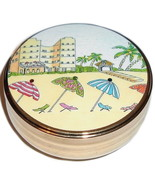 VACATION Scene Trinket Box Goldtone Collectible - £7.26 GBP