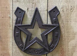 Cast Iron Welcome Horseshoe with Star Rustic Brown Western Decor Wall Mount - $10.88