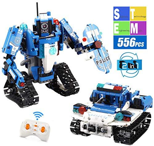 Mould King 2 in 1 Building Block Robot Policemen Toy with Remote Control Robot E