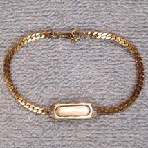 Avon ID Bracelet Herringbone Chain Gleaming Gold Tone Engravable NEW w/o... - $19.75