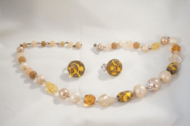 """Vintage 1960's Pearl And Polished Stone Necklace And Earring Set, 18"""" C002 - $21.38"""