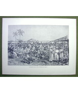 AFRICA Interior Market Place Merchants - 1858 Engraving Print - $9.57