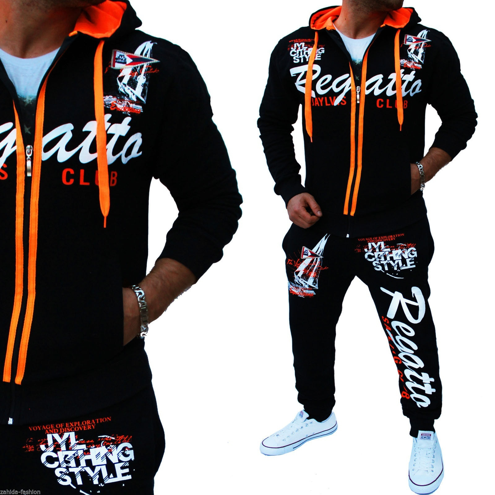 Men Sport Tracksuit Casual Letter Printed Hoodie Coat Leisure Trousers for Male  image 9