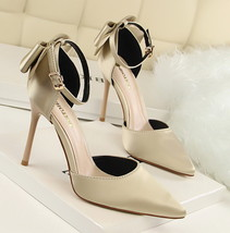ps352 elegant ankle sandals w bowtie back, US Size 4-8.5, light gold - $48.80