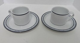 Dansk Bistro Lyngby Two Cups and Saucers Blue Bands and Lines on Rim - $14.73