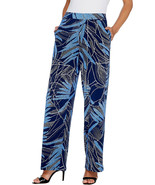 Susan Graver Womens Printed Liquid Knit Pull-On Pants in Navy/Blue, XS - $31.67