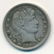 1892 BARBER SILVER QUARTER-VERY NICE GENTLY CIRCULATED QUARTER-SHIPS FREE! - $129.95