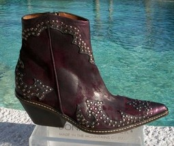 Donald Pliner Western Couture Vintage Suede Crushed Leather Boot Shoe New $625 - $281.25