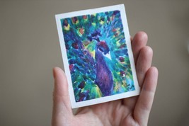 Peacock painting ACEO original watercolor 2,5x3,5 250 gsm 100% cotton - $7.00
