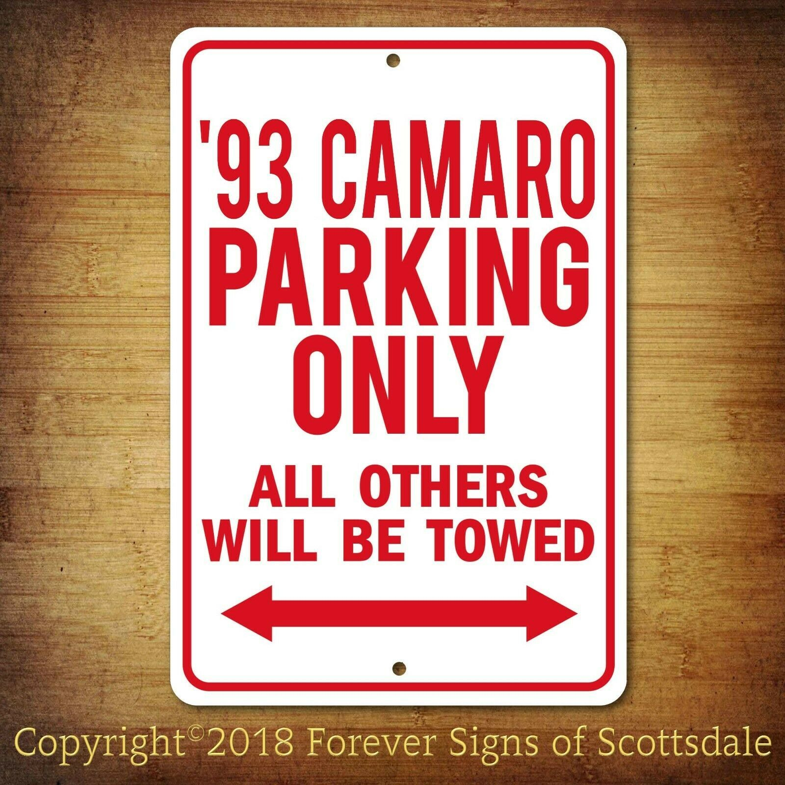 Primary image for 1993 Chevrolet Camaro Parking Only Security Aluminum Sign