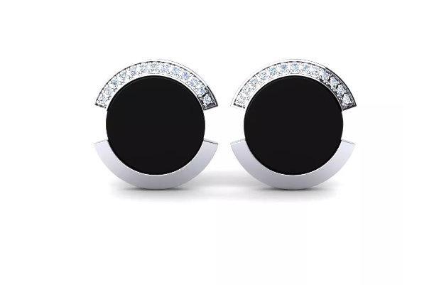 925 Sterling Silver Genuine Black Onyx And Cz Gemstone Artistic Design Handcraft