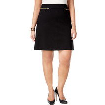 Alfani Women's Prima Zip-Pocket A-Line Skirt Black 18W 22.5L - $34.40