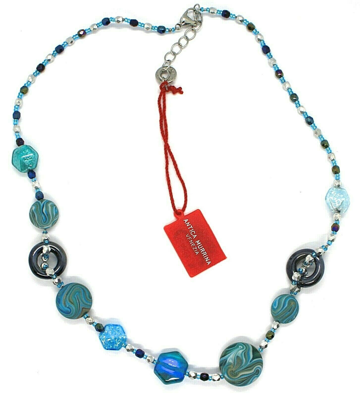 Necklace Antica Murrina Venezia, CO862A07, Disc Polyester Stripe Glitter Hexagon