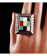 Indian Ring Big - sterling modernist size 10 1/2 - mosaic Large setting ... - $265.00
