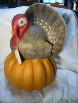 Bethany Lowe Turkey on Pumpkin Large Paper Mache no. TL8747 image 1
