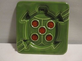"""Vintage Abstract Turtle Pattern Ceramic Ashtray Green with Glass 8"""" Square - $9.46"""