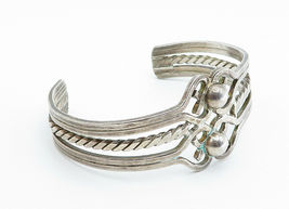 MEXICO 925 Sterling Silver - Vintage Twist Dome Detailed Cuff Bracelet - B6022 image 5