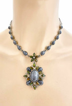 Vintage Inspired Pendant Statement Necklace Earrings Gray Lucite& Rhinestones - $15.38