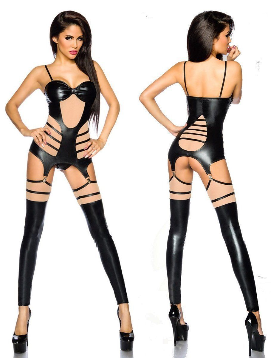 wetlook-suspender Set Top String Gauntlets Suspender Belt SARESIA découpes