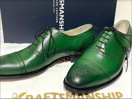 Handmade Men's Green Leather Brogues Style Lace Up Dress/Formal Oxford Shoes image 5