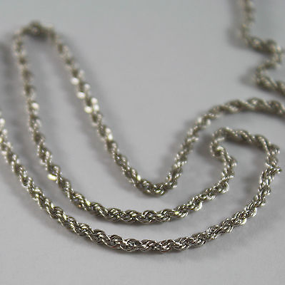 18K WHITE GOLD CHAIN NECKLACE, BRAID ROPE LINK 16.53 INCHES MADE IN ITALY