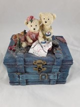 Two Bears Sitting on Top of a Trunk Resin Bank  - $15.00