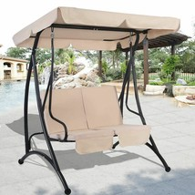 2 People Beige Canopy Swing Chair Patio Hammock Seat Cushioned Furniture... - $136.79