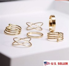 USA 6Pcs Set Midi Above Knuckle Ring Band Gold Plated Tip Finger Stacking - $9.89