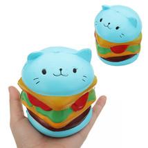 Burger Cat Squishy 10.5*9.5 CM Slow Rising Collection Gift Soft Fun Anim... - $10.99